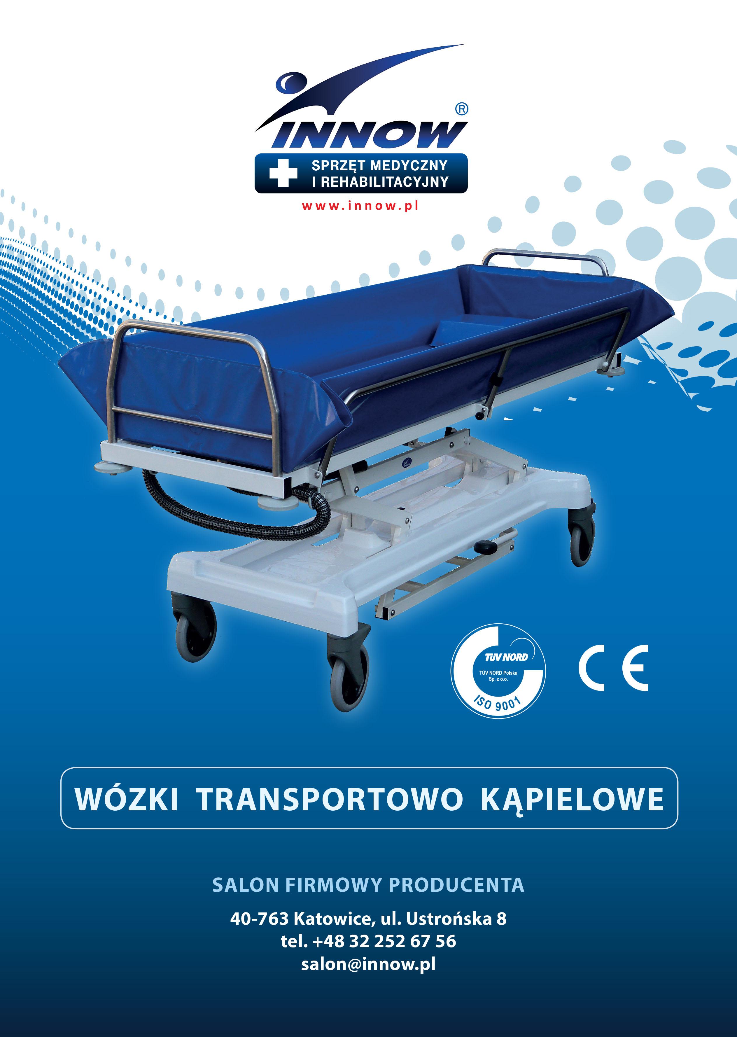 """Katalog """"Wózki transportowo-kąpielowe"""" z urządzeniami ułatwiającymi utrzymanie higieny osób chorych i starszych."""