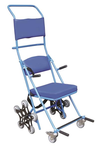 Wózek schodowy ręczny z podgłówkiem, tapicerka w kolorze niebieskim - T673VB