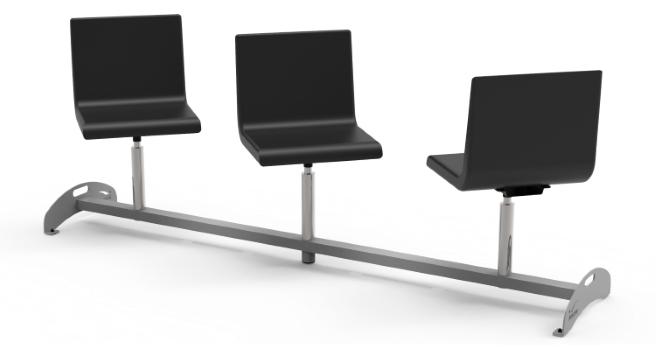 Potrójne regulowane krzesła do poczekalni