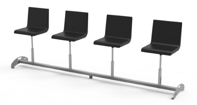 Poczwórne regulowane krzesła do poczekalni