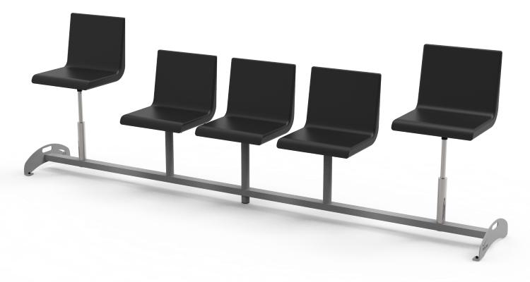 Krzesła do poczekalni w 2 regulowanymi siedziskami